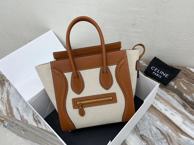 CELINE MICRO LUGGAGE HANDBAG IN TEXTILE AND CALFSKIN 167793 TAN&WHITE