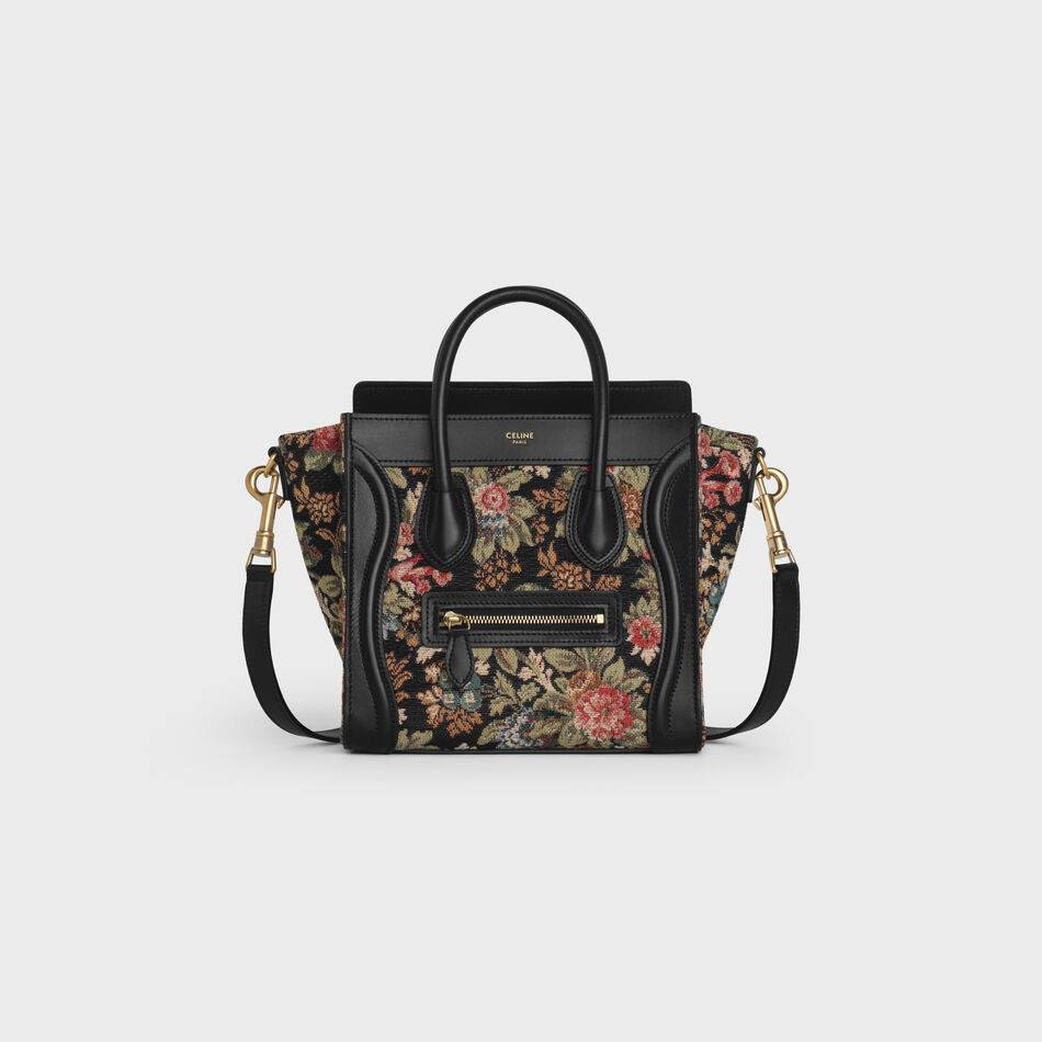 CELINE NANO LUGGAGE BAG IN FLORAL JACQUARD AND CALFSKIN 189242 BLACK