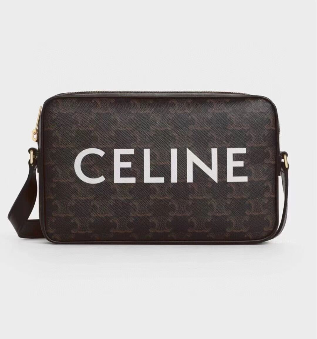 Celine MINI FOLCO BAG IN TRIOMPHE CANVAS CL9450 black