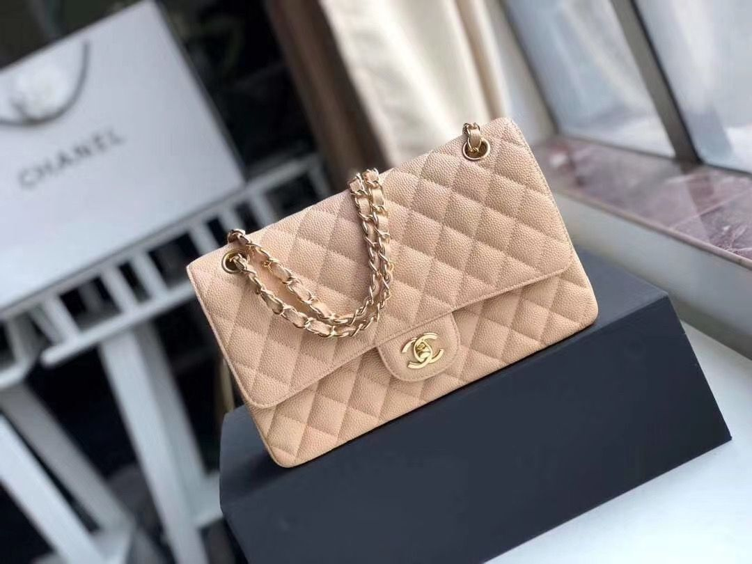 Chanel Double Flaps Bags Apricot Original Caviar Leather A36097 Gold