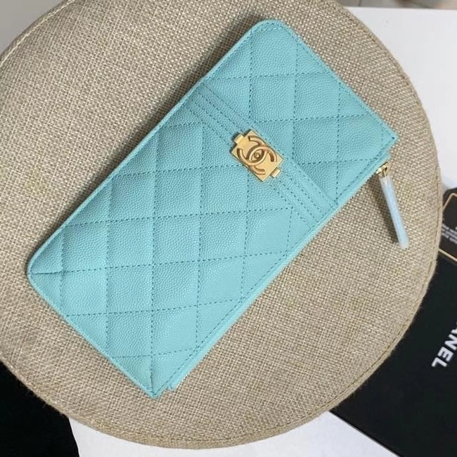 BOY CHANEL Calfskin Leather Card packet AP1482 light blue