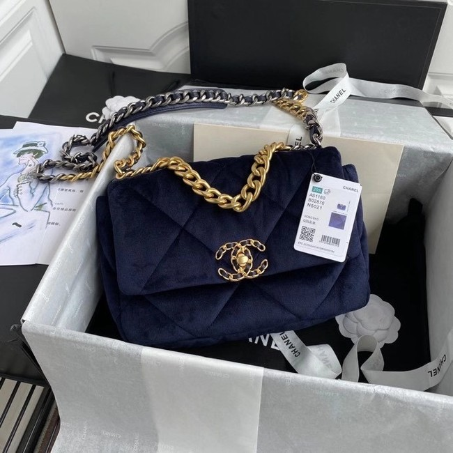 Chanel 19 flap bag velvet AS1160 Royal Blue