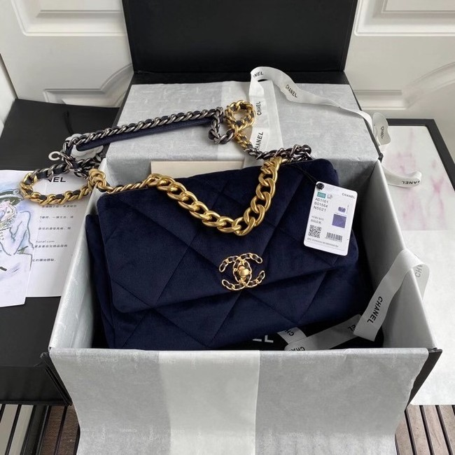 Chanel 19 flap bag velvet AS1161 Royal Blue