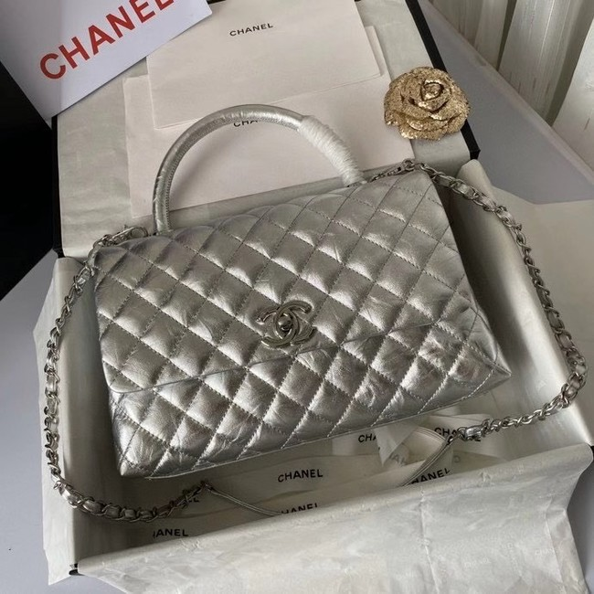 Chanel Flap Bag with Top Handle A92991 silver