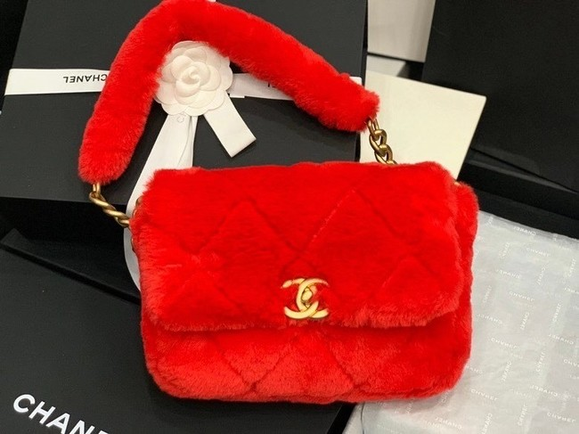 Chanel flap bag Shearling Lambskin & Gold-Tone Metal AS2240 red