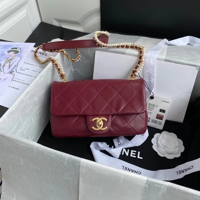 Chanel small flap bag Lambskin & Gold-Tone Metal AS2210 Burgundy