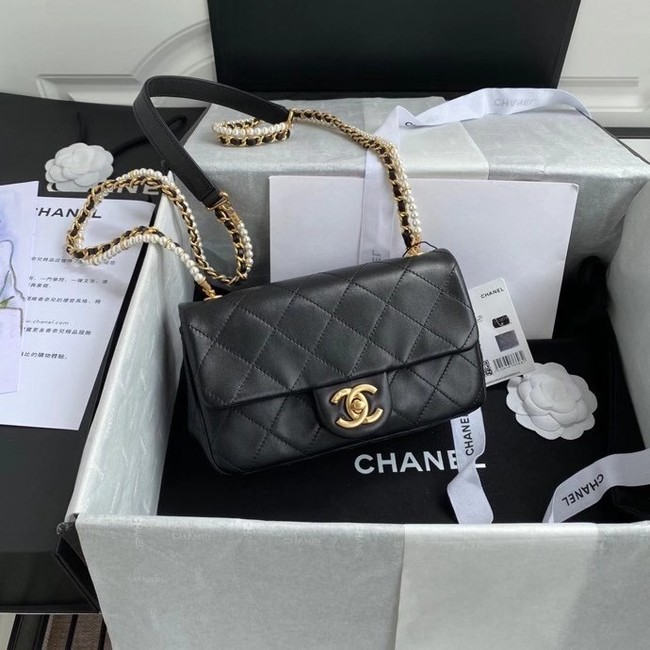 Chanel small flap bag Lambskin & Gold-Tone Metal AS2210 black
