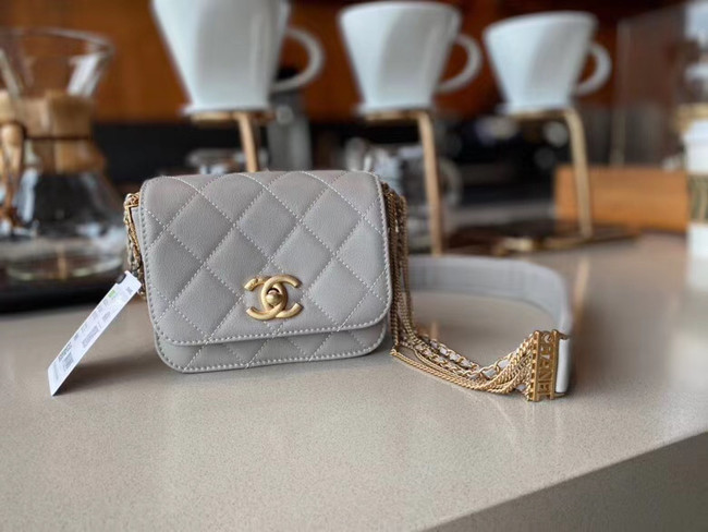 Chanel small flap bag Lambskin & Gold-Tone Metal AS2051 grey