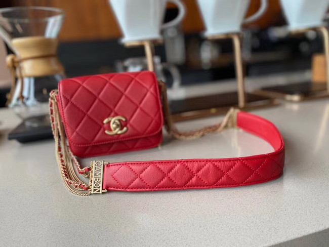 Chanel small flap bag Lambskin & Gold-Tone Metal AS2051 red