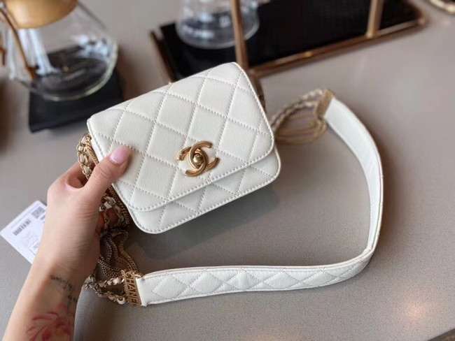 Chanel small flap bag Lambskin & Gold-Tone Metal AS2051 white