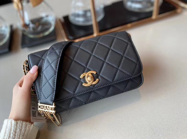 Chanel small flap bag Lambskin & Gold-Tone Metal AS2052 black