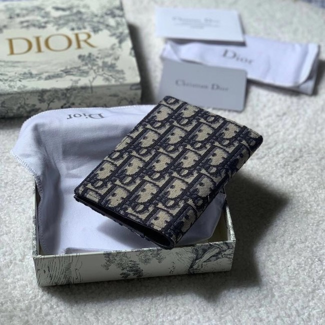 30 MONTAIGNE PASSPORT HOLDER Blue Dior Oblique Jacquard S2095