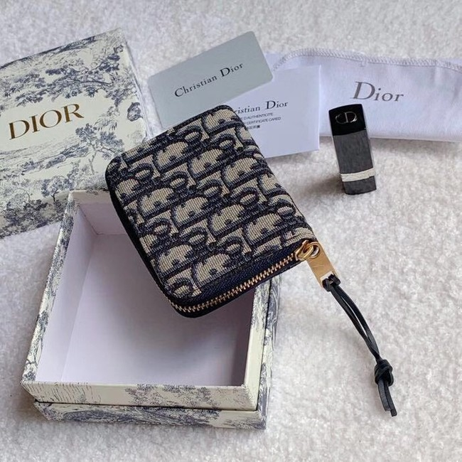 Dior 30 MONTAIGNE CARD HOLDER Blue Dior Oblique Jacquard S5538