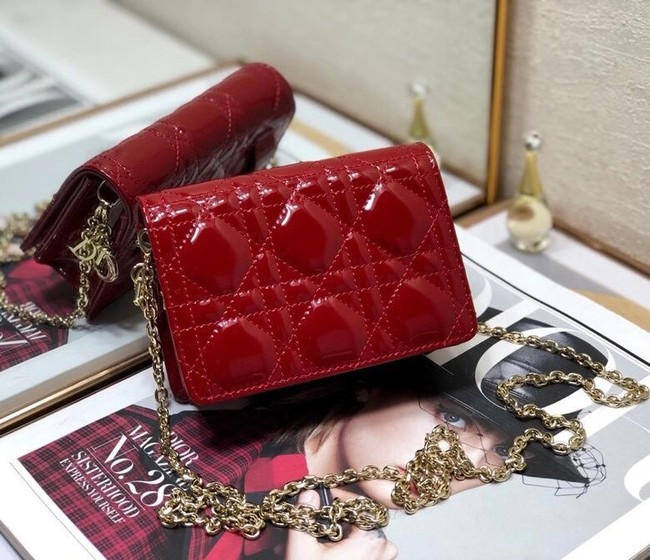 LADY DIOR 5-GUSSET CARD HOLDER WITH CHAIN Patent Cannage Calfskin S0859 red