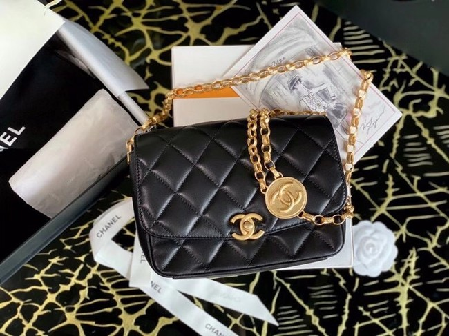 Chanel small flap bag Lambskin & Gold-Tone Metal AS2189 black