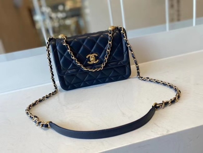 Chanel flap bag Calfskin & Gold-Tone Metal AS2055 Royal Blue