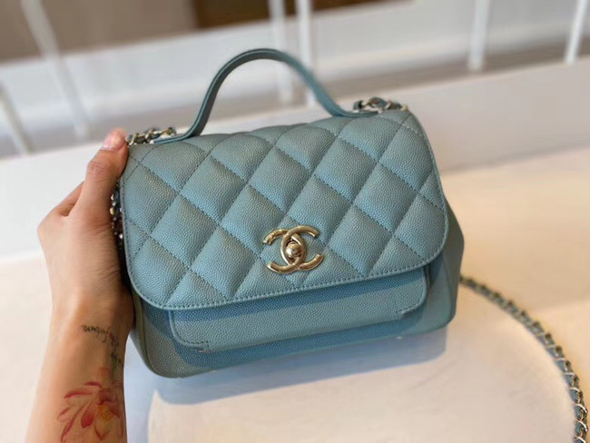 Chanel small flap bag Calfskin & Gold-Tone Metal A93749 blue