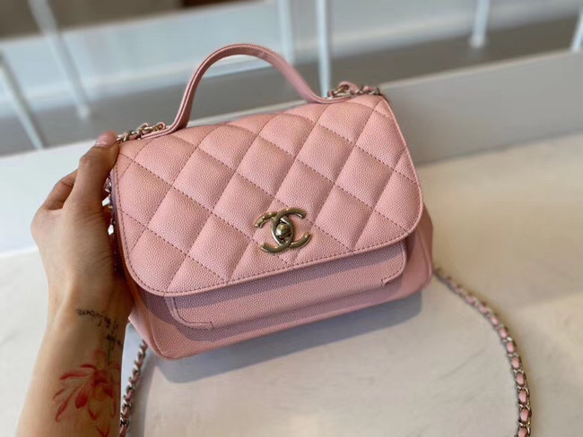 Chanel small flap bag Calfskin & Gold-Tone Metal A93749 pink