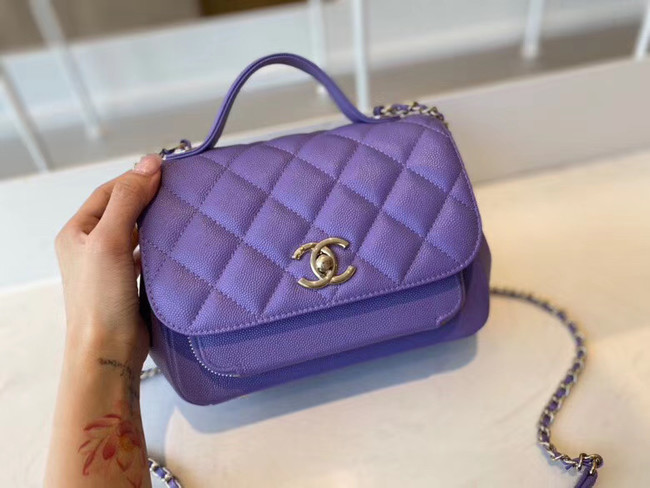 Chanel small flap bag Calfskin & Gold-Tone Metal A93749 purple