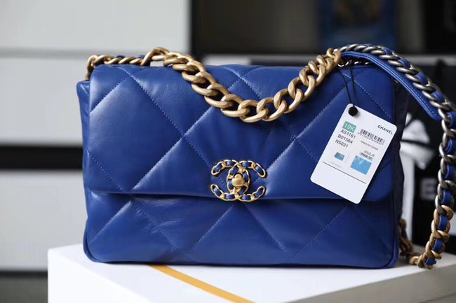 Chanel 19 flap bag AS1161 blue