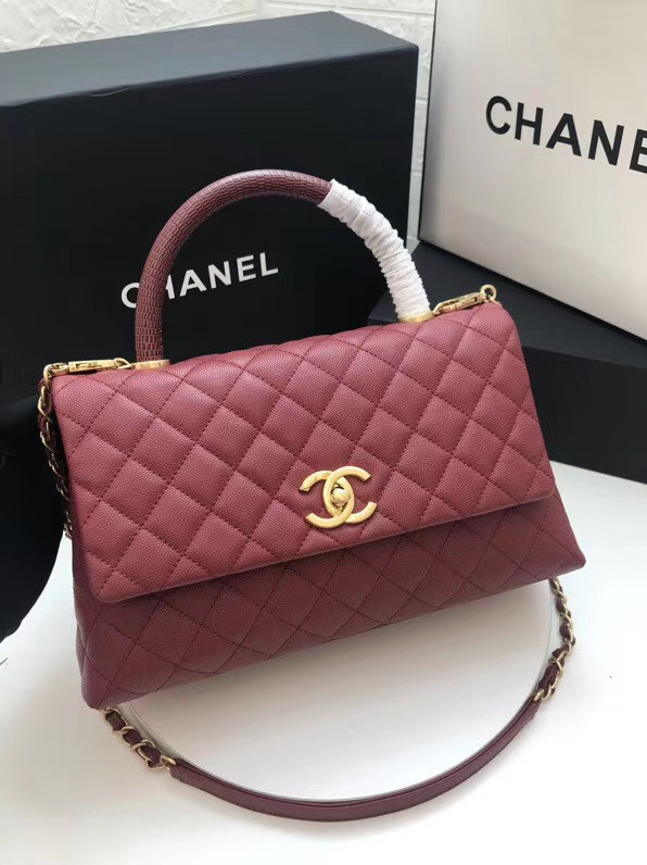 Chanel flap bag with Burgundy top handle A92991 Burgundy