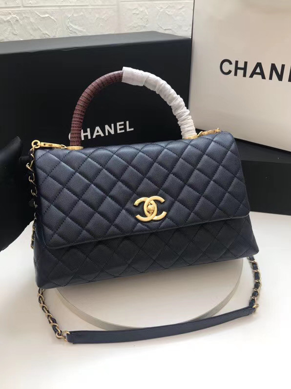 Chanel flap bag with Burgundy top handle A92991 dark Blue