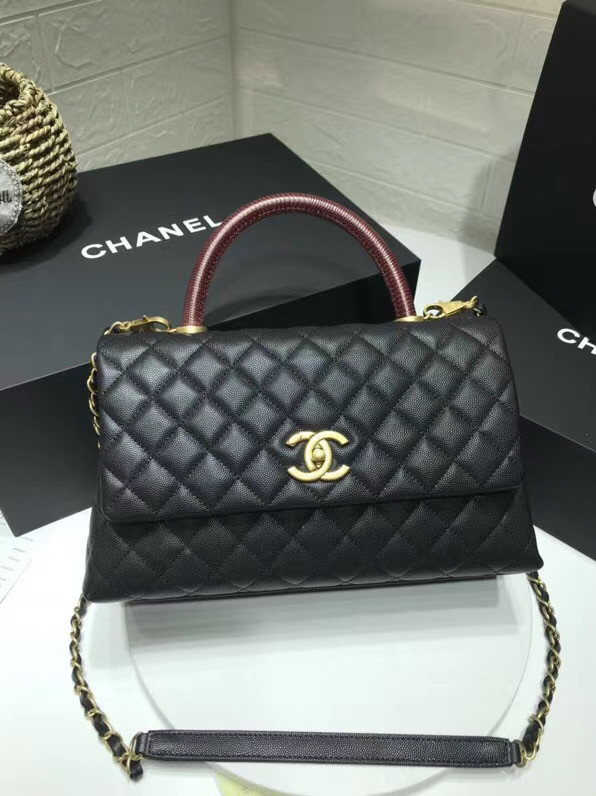 Chanel flap bag with red top handle A92991 black