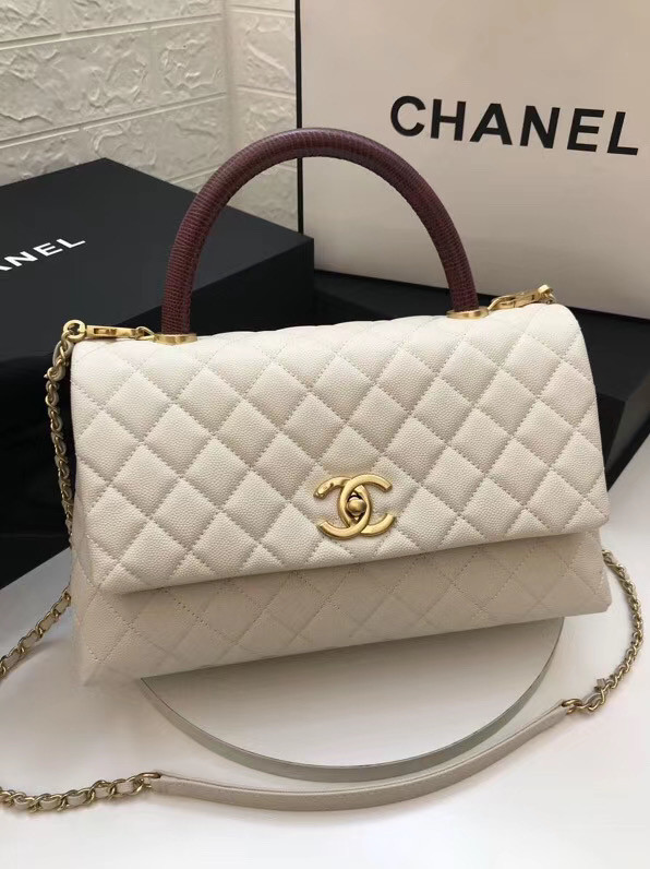 Chanel flap bag with red top handle A92991 white