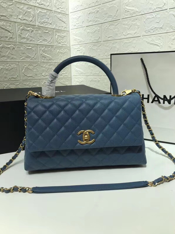 Chanel flap bag with top handle A92991 Blue