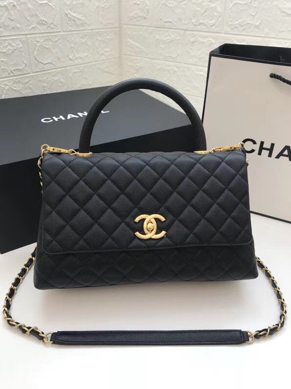 Chanel flap bag with top handle A92991 black