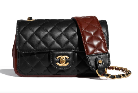 Chanel small flap bag Calfskin & Gold-Tone Metal AS2228 Black & Brown