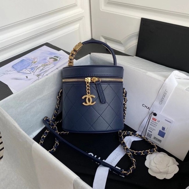Chanel vanity case AS2061 dark Blue
