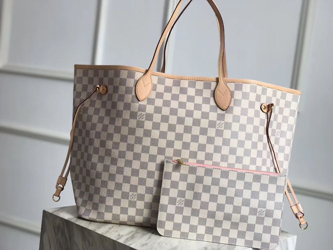 Louis Vuitton Damier Azur Original Leather Bolso NEVERFULL GM N41604 Pink