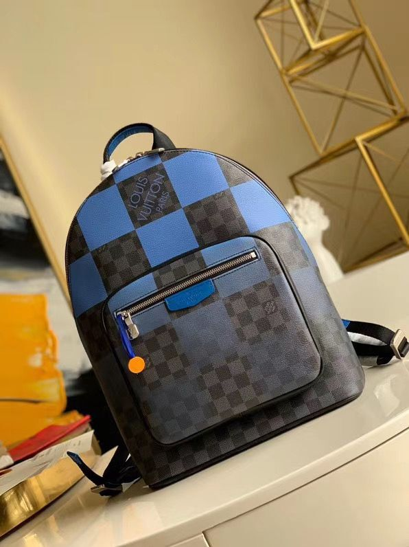Louis Vuitton Damier Graphite Canvas Original Leather Backpack N40402 Blue