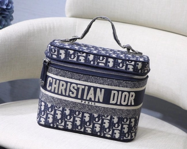 Dior Oblique Embroidered DIORTRAVEL VANITY CASE S5480  Blue