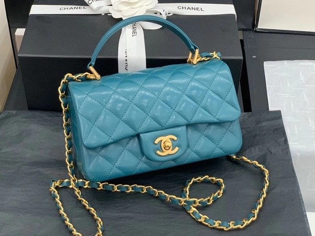 Chanel small tote bag Sheepskin & Gold-Tone Metal AS8816 blue