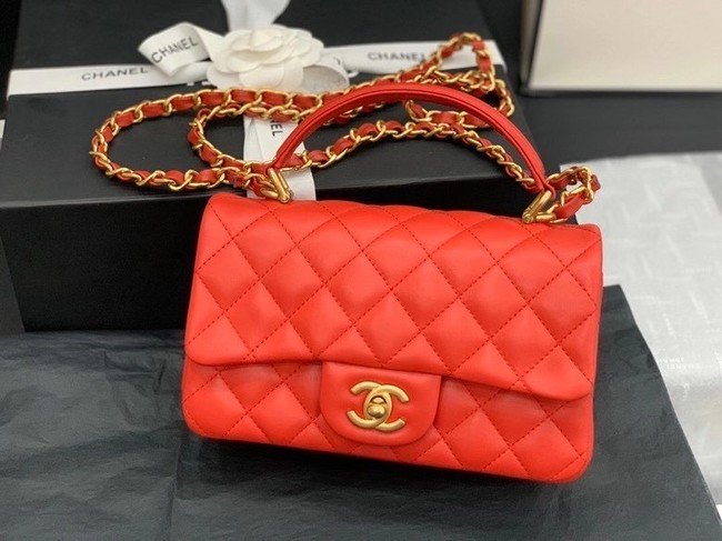 Chanel small tote bag Sheepskin & Gold-Tone Metal AS8816 red