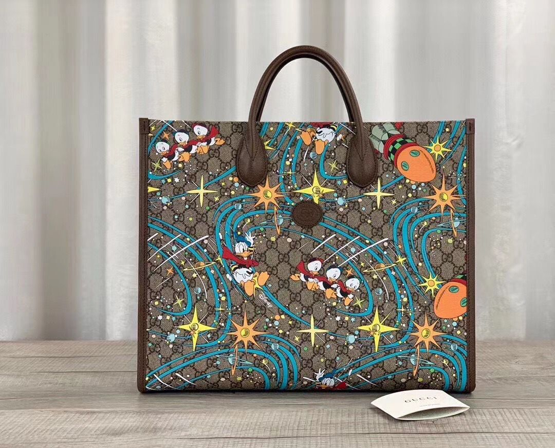 Gucci Donald Duck Series Original Leather Tote Bag 650037
