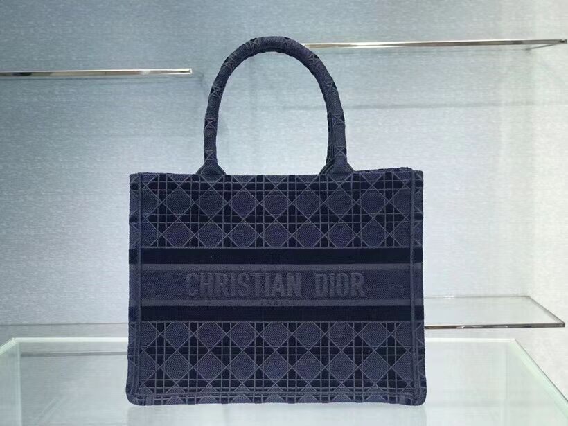 SMALL DIOR BOOK TOTE blue Cannage Embroidered Velvet M1287Z