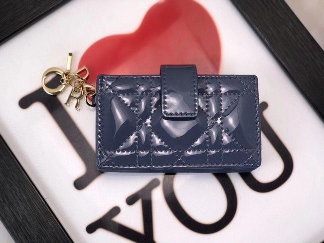 LADY DIOR 5-GUSSET CARD HOLDER Vents Patent Cannage Calfskin S0074OV blue