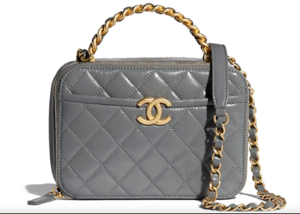 Chanel vanity case Lambskin, Shiny Crumpled Calfskin & Gold-Tone Metal AS2179 Gray