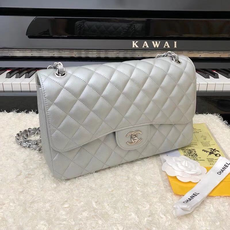 Chanel 2.55 Series Flap Bag Leather A1112CF silvery