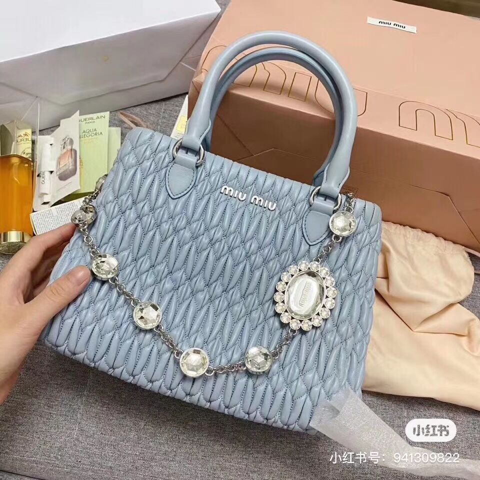 miu miu Matelasse Nappa Leather shoulder bag 5BA067 light blue