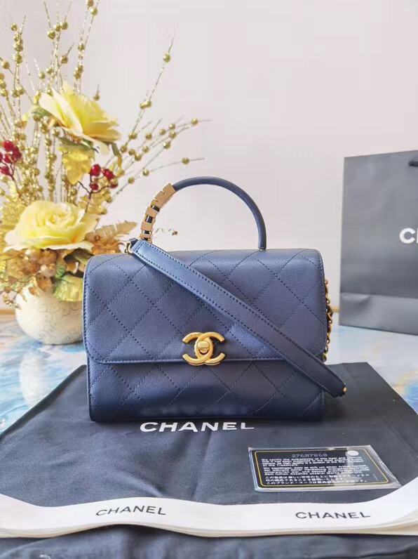 Chanel small tote bag Sheepskin & Gold-Tone Metal AS2059 blue