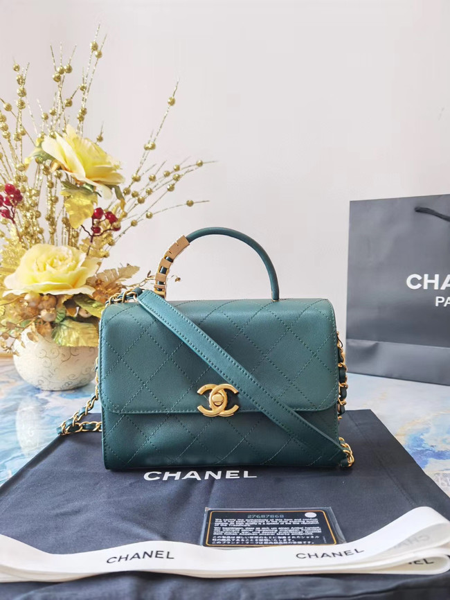 Chanel small tote bag Sheepskin & Gold-Tone Metal AS2059 green
