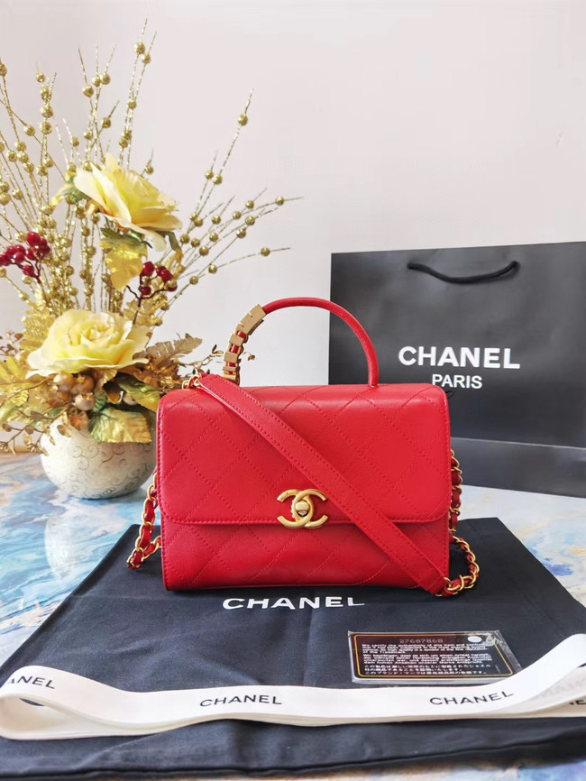 Chanel small tote bag Sheepskin & Gold-Tone Metal AS2059 red