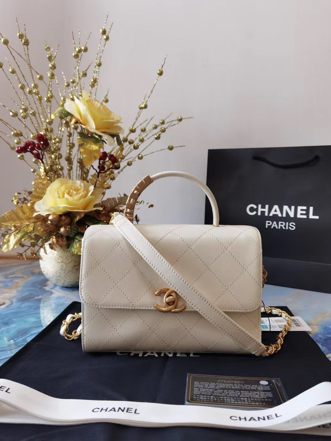 Chanel small tote bag Sheepskin & Gold-Tone Metal AS2059 white