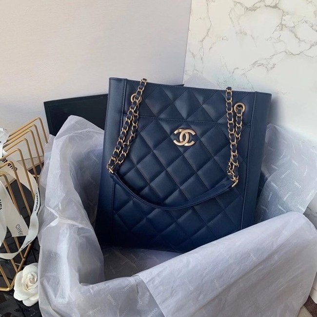 Chanel Original Lather Shopping bag AS2295 blue
