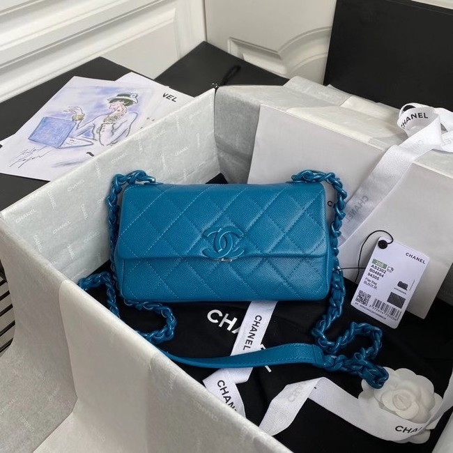 Chanel flap bag Grained Calfskin & Lacquered Metal AS2302 blue