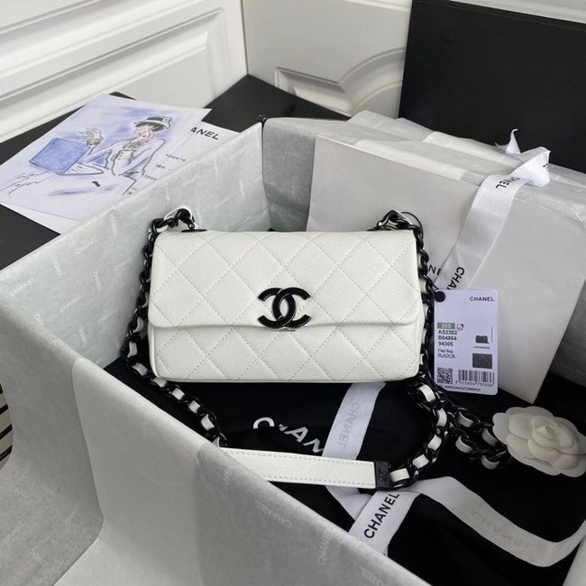 Chanel flap bag Grained Calfskin & Lacquered Metal AS2302 white